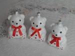 """Елочная игрушка """"Мишка белый с блестками"""" (10 см)"""