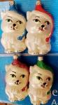 """Елочная игрушка """"Кошка белая в цветной шапке"""" (10 см)"""